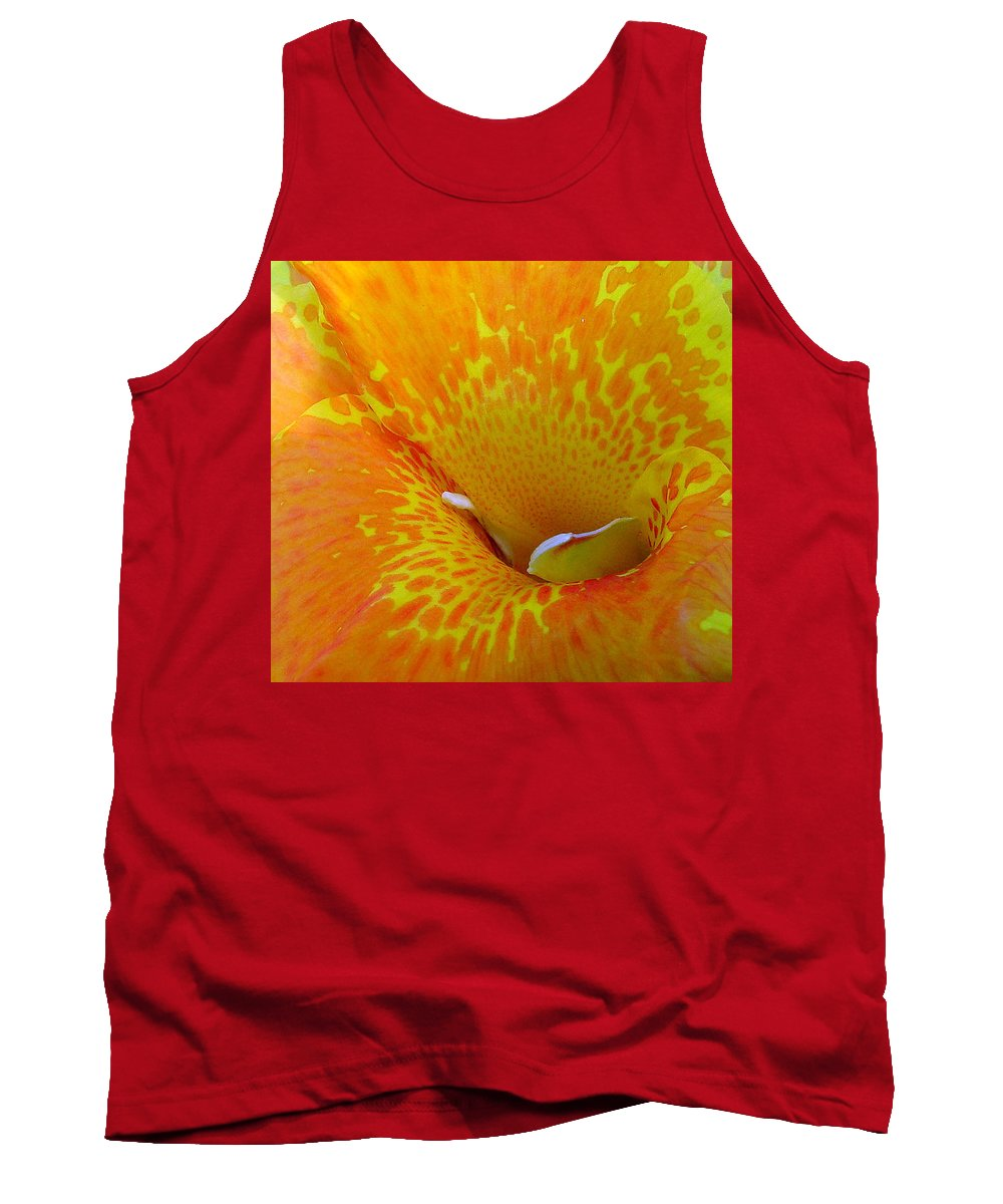Orange Yellow Flower Tank Top featuring the photograph Canna by Luciana Seymour