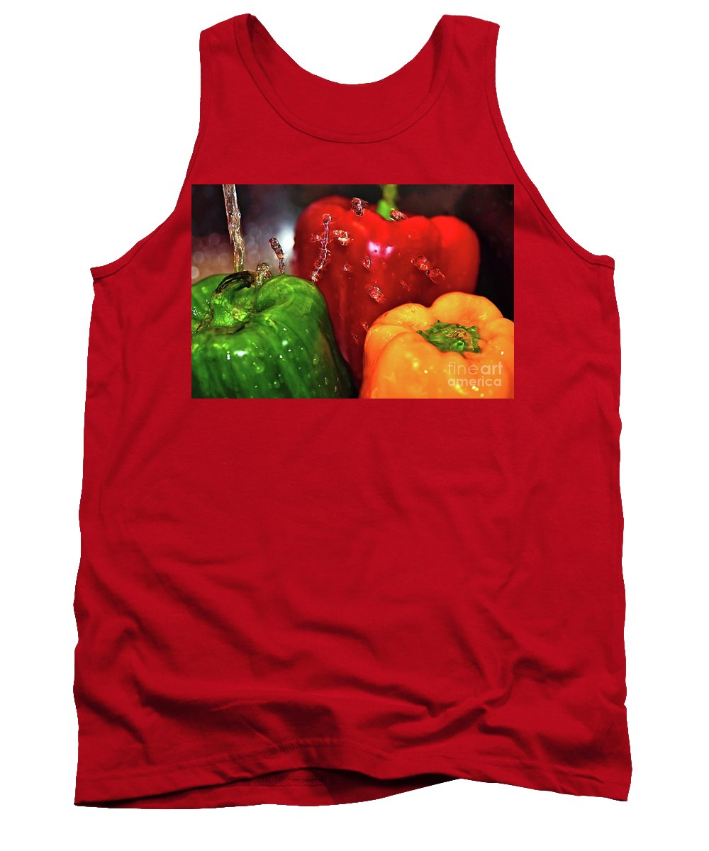 Photography Tank Top featuring the photograph Capsicum In The Wash by Kaye Menner