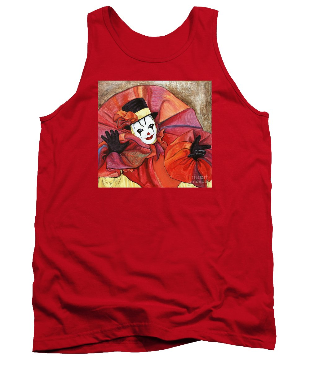 Clown Tank Top featuring the painting Carnival Clown by Patty Vicknair
