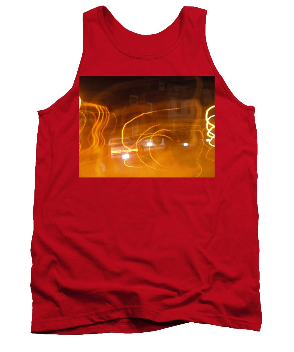Photograph Tank Top featuring the photograph Cars On Fire by Thomas Valentine