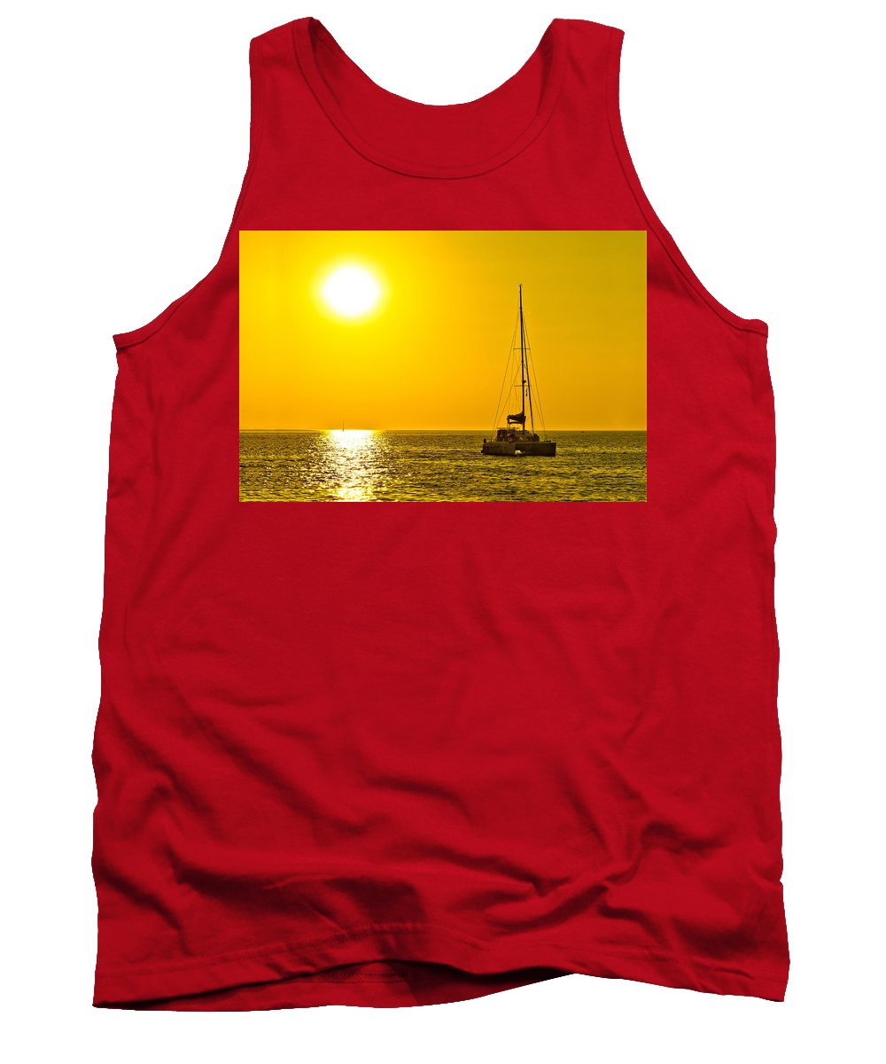 Gold Tank Top featuring the photograph Catamaran Sailboat On Golden Sunset by Brch Photography