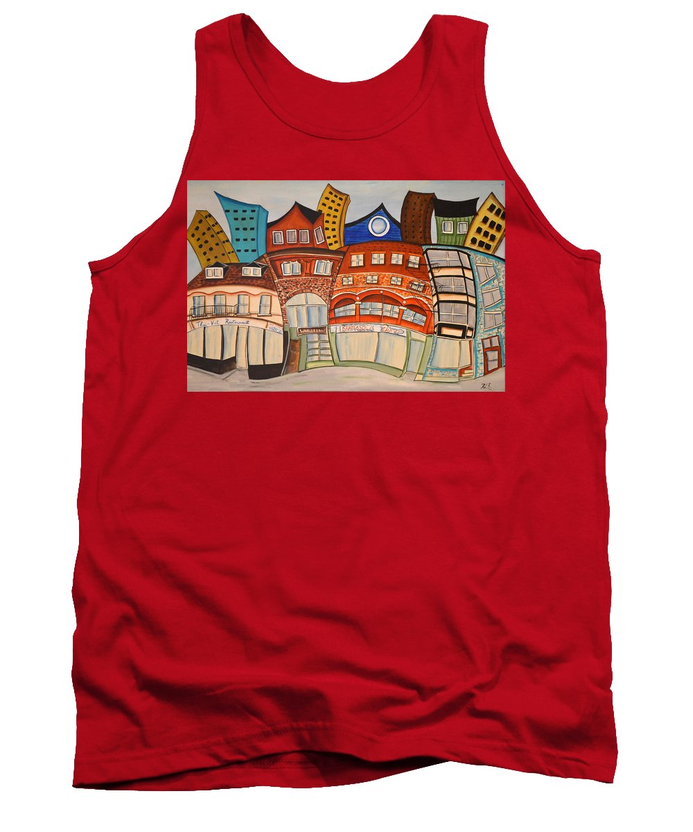 Abstract Tank Top featuring the painting Centre Town by Heather Lovat-Fraser