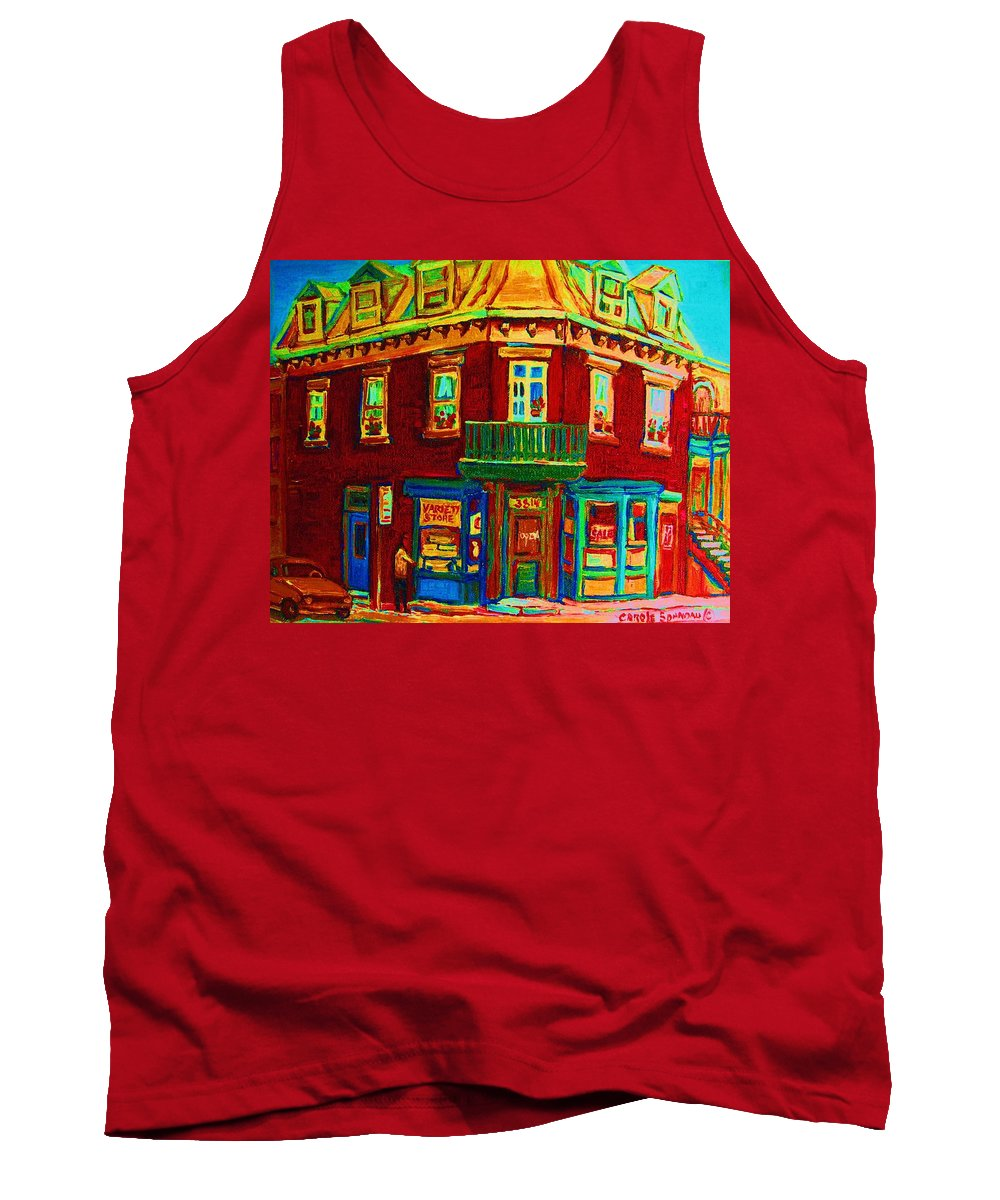 Plateau Montreal Charming Corner Stores Street Scenes Tank Top featuring the painting Charming Store On The Corner by Carole Spandau