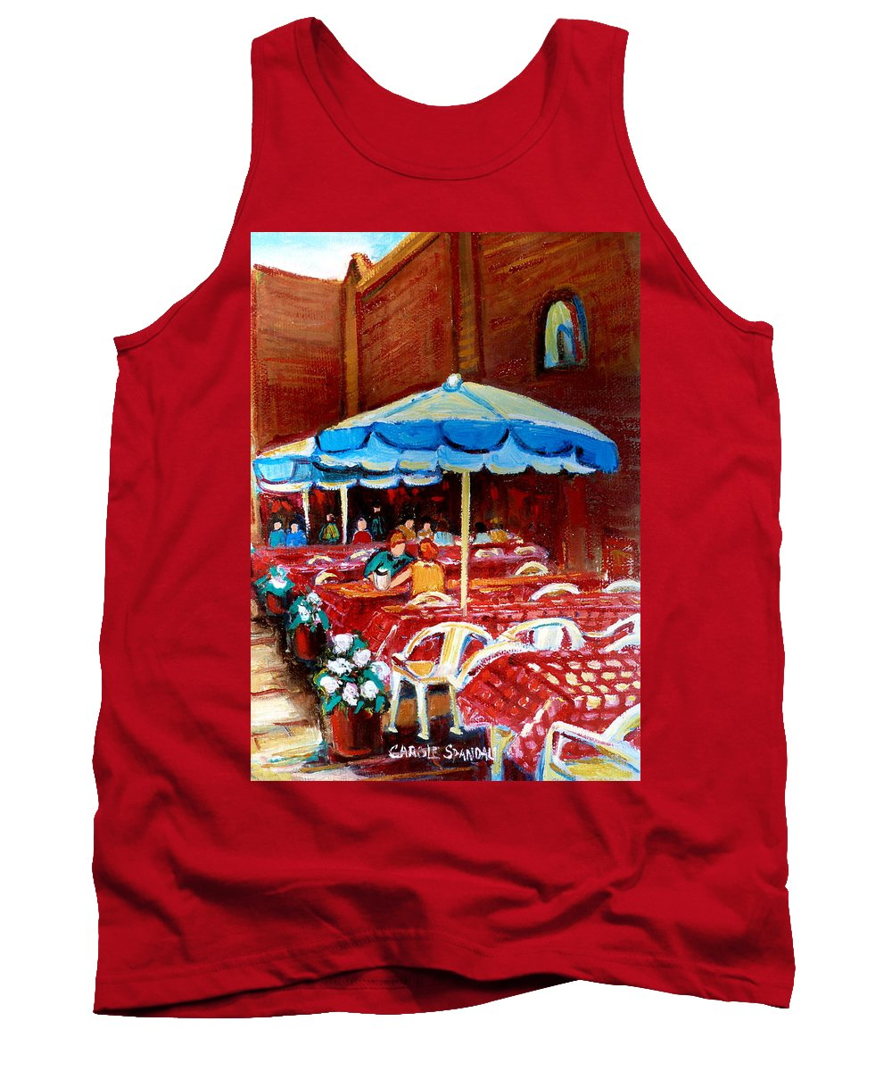 Montreal Tank Top featuring the painting Checkered Tablecloths by Carole Spandau
