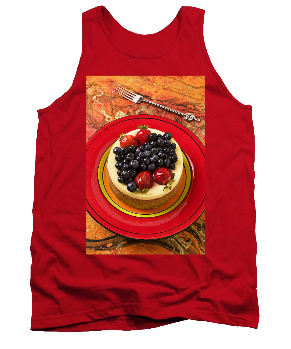 Fruit Tank Top featuring the photograph Cheesecake On Red Plate by Garry Gay