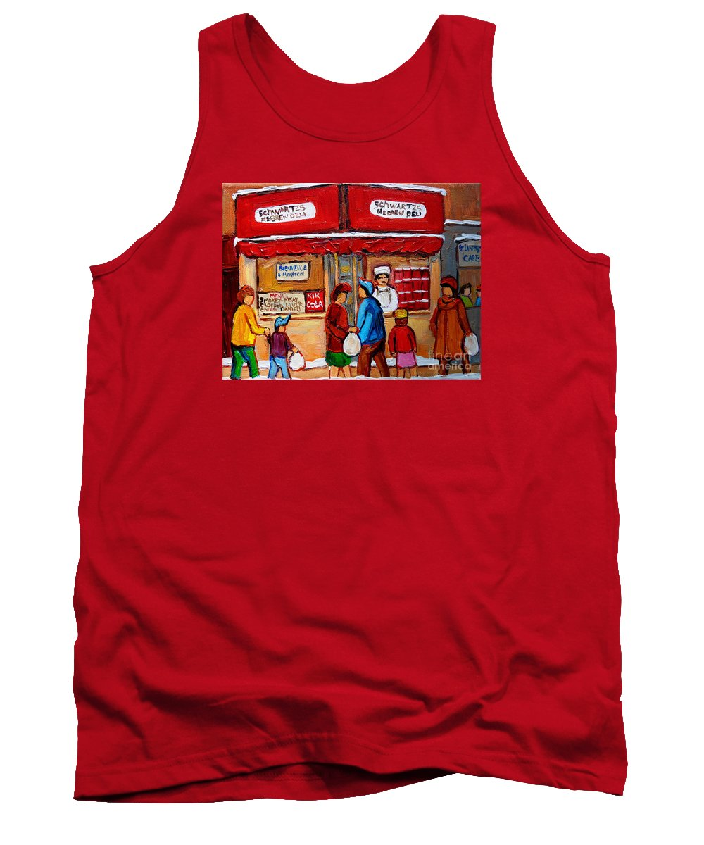 Schwartzs Hebrew Deli Tank Top featuring the painting Chef In The Window by Carole Spandau