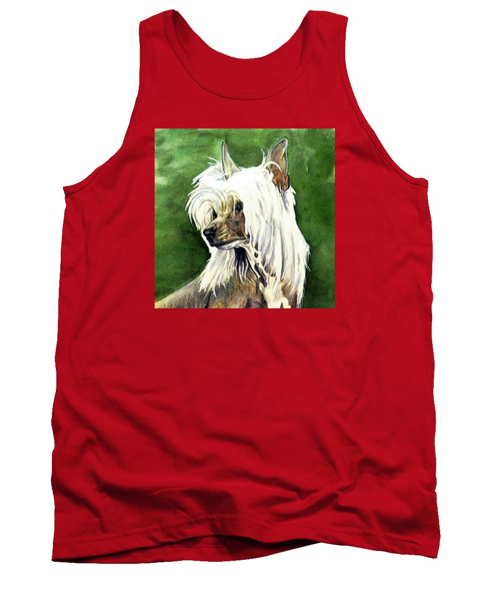 Art Tank Top featuring the painting Chinese Crested by Kathleen Sepulveda