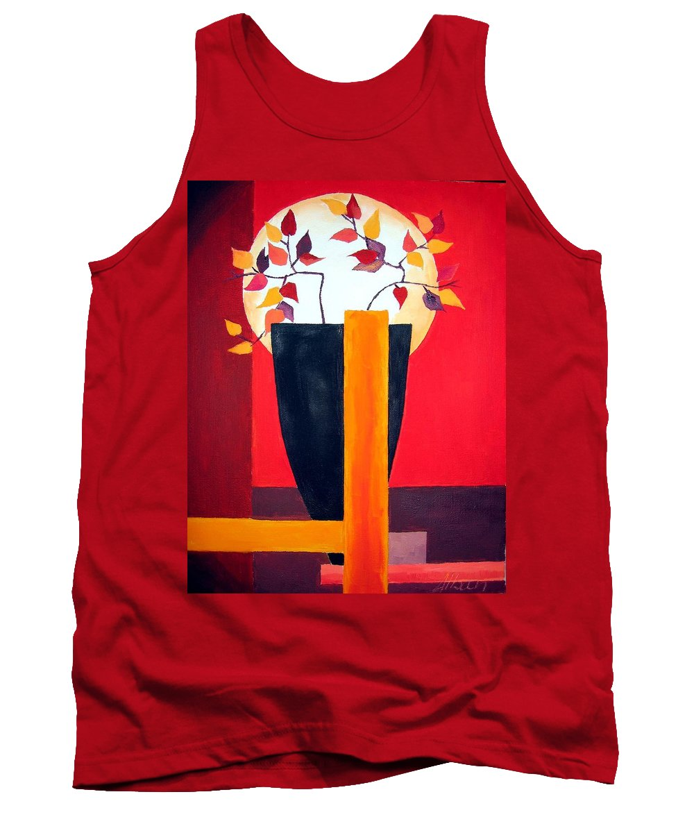 Flower Tank Top featuring the painting Chinese Flower On Vase by Alban Dizdari