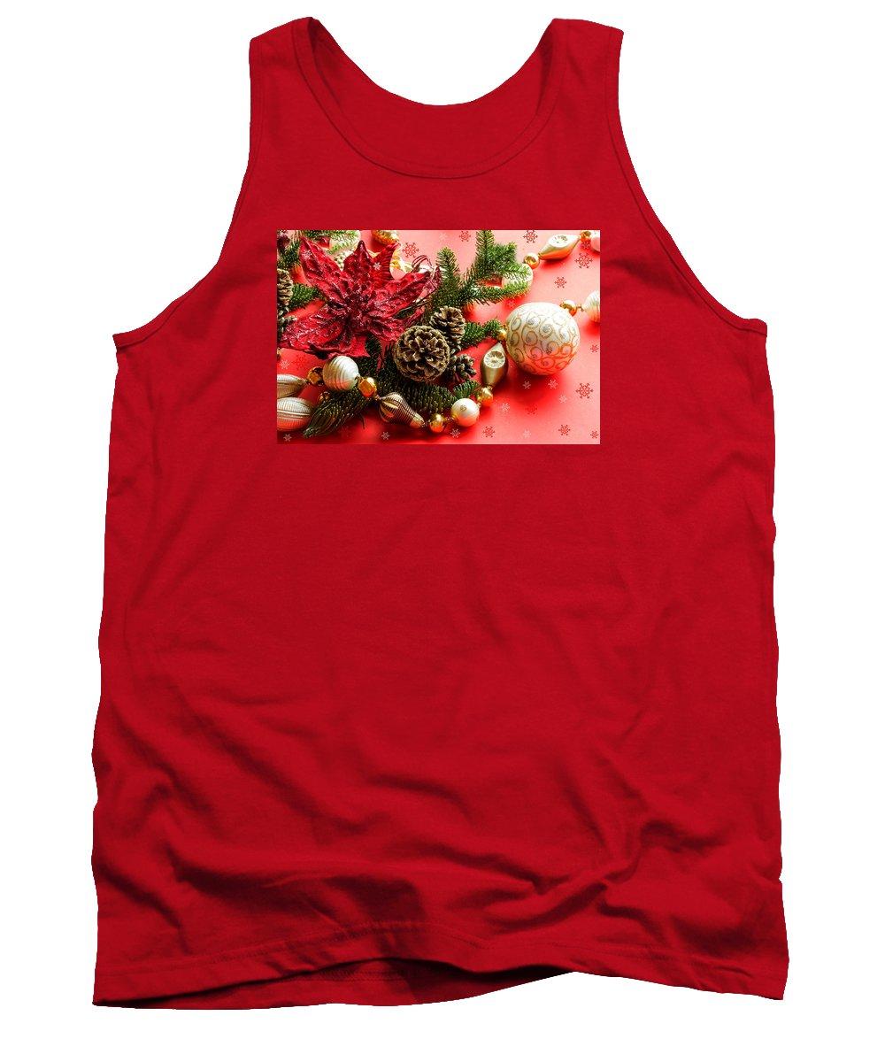 Merry Christmas Card Tank Top featuring the mixed media Christmas Cheer by Marina Kojukhova