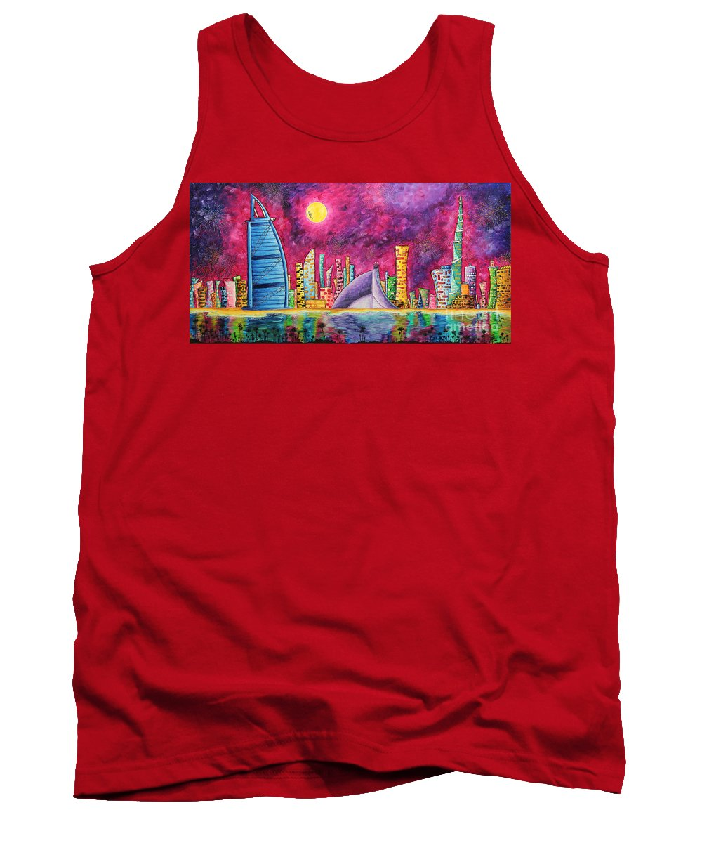 Dubai Tank Top featuring the painting City Of Dubai Pop Art Original Luxe Life Painting By Madart by Megan Duncanson