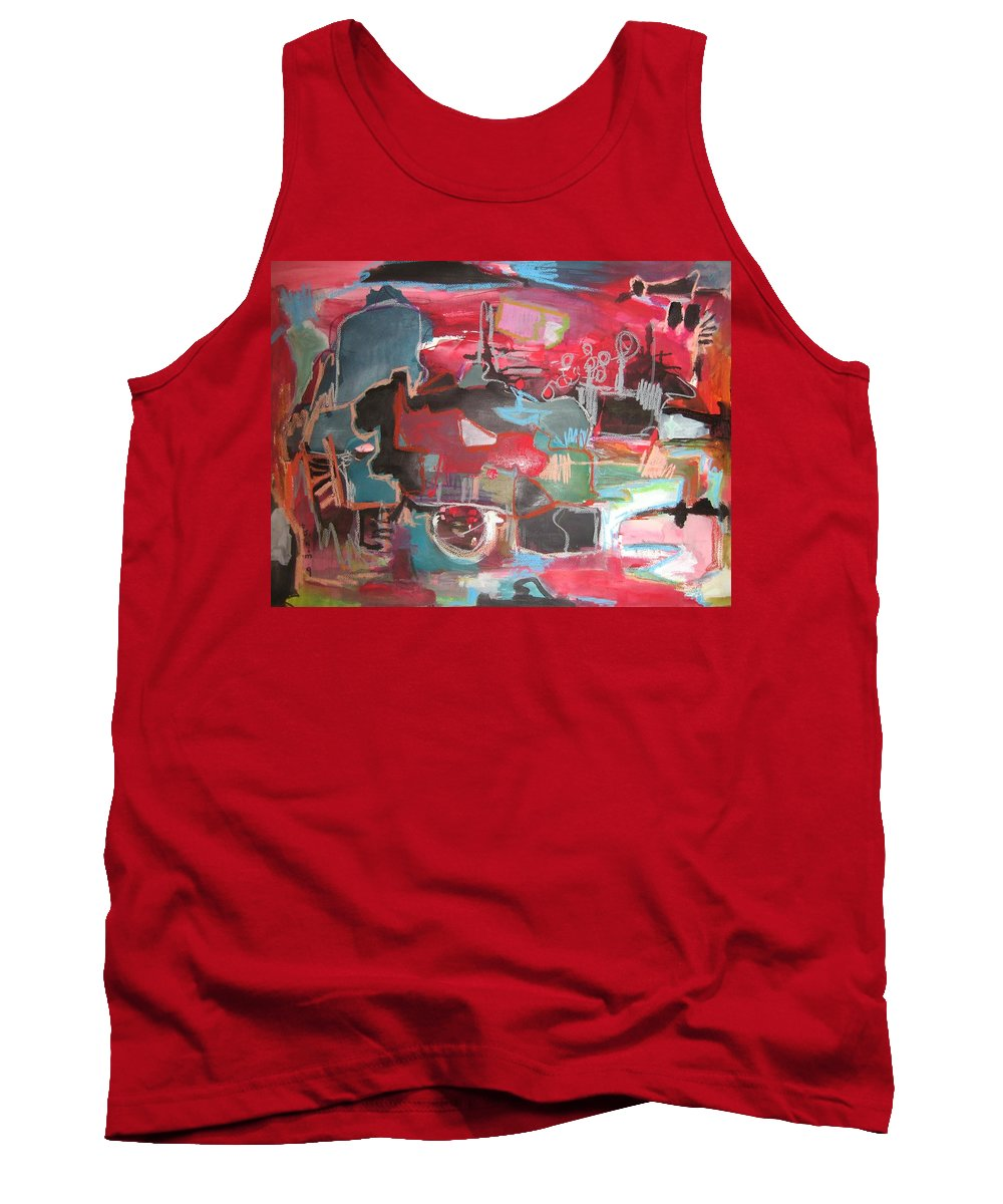 Abstract Paintings Tank Top featuring the painting Citysacpe At Twilight Original Abstract Colorful Landscape Painting For Sale Red Blue by Seon-Jeong Kim