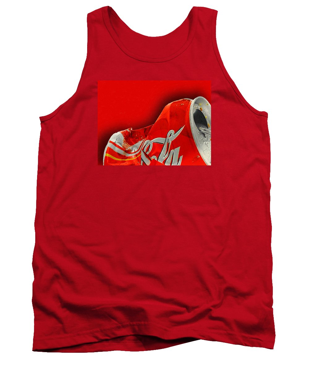 Coca-cola Tank Top featuring the painting Coca-cola Can Crush Red by Tony Rubino