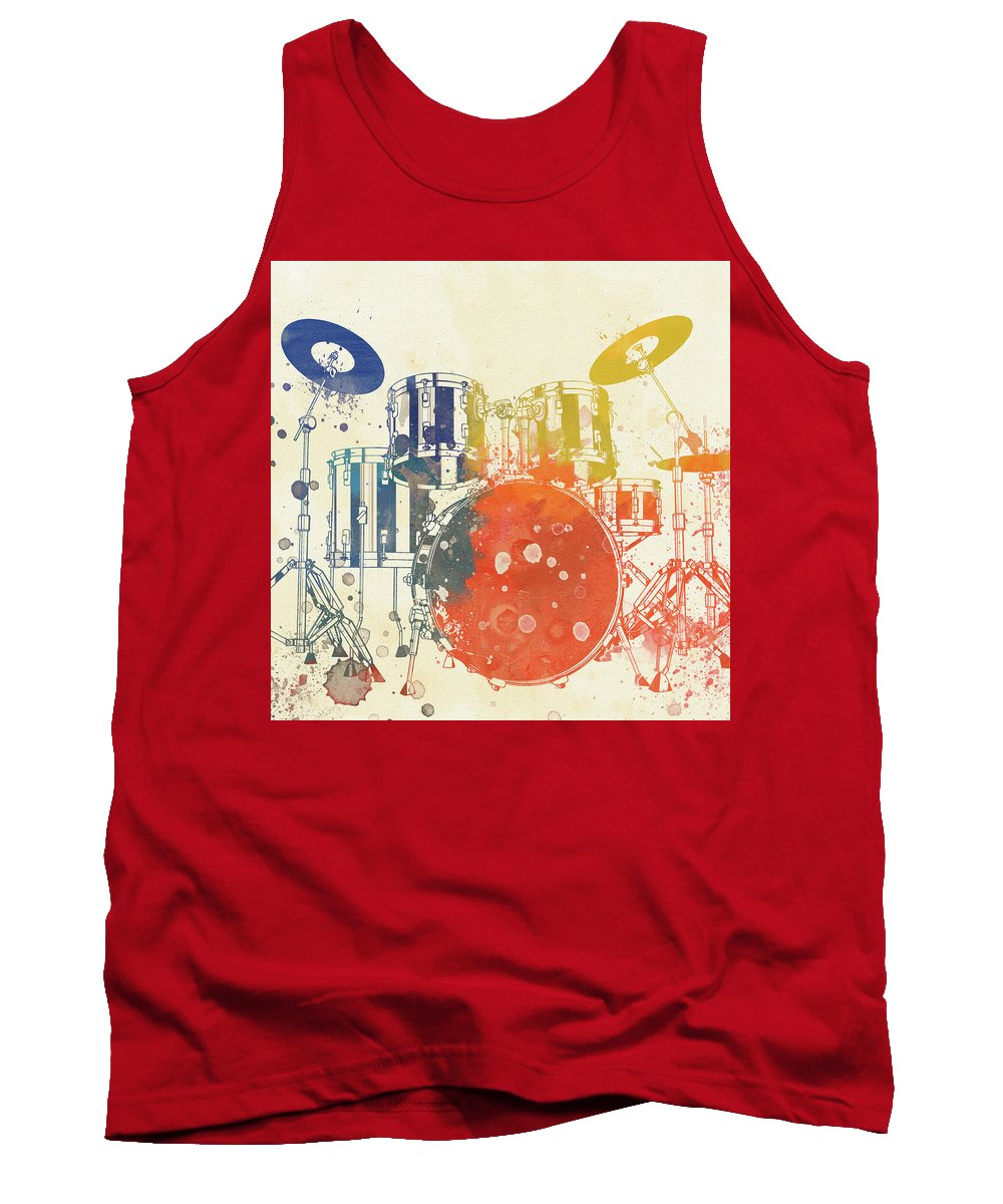Colorful Drum Set Tank Top featuring the painting Colorful Drum Set by Dan Sproul