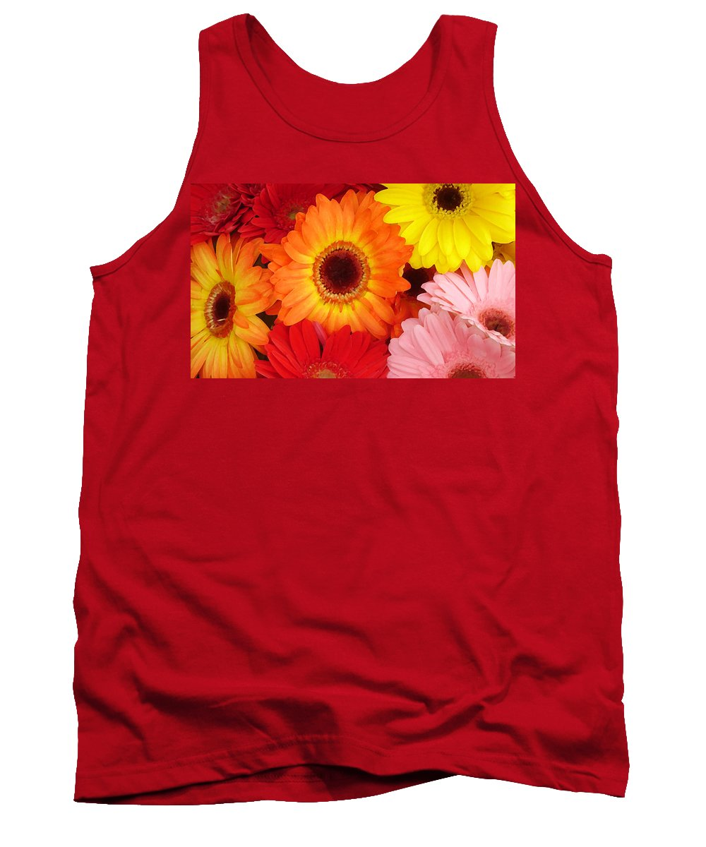 Gerber Daisy Tank Top featuring the painting Colorful Gerber Daisies by Amy Vangsgard