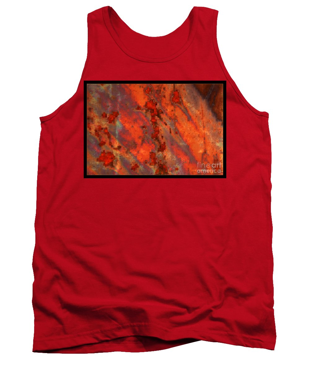 Colorful Abstract Tank Top featuring the photograph Colorful Metal Abstract With Border by Carol Groenen
