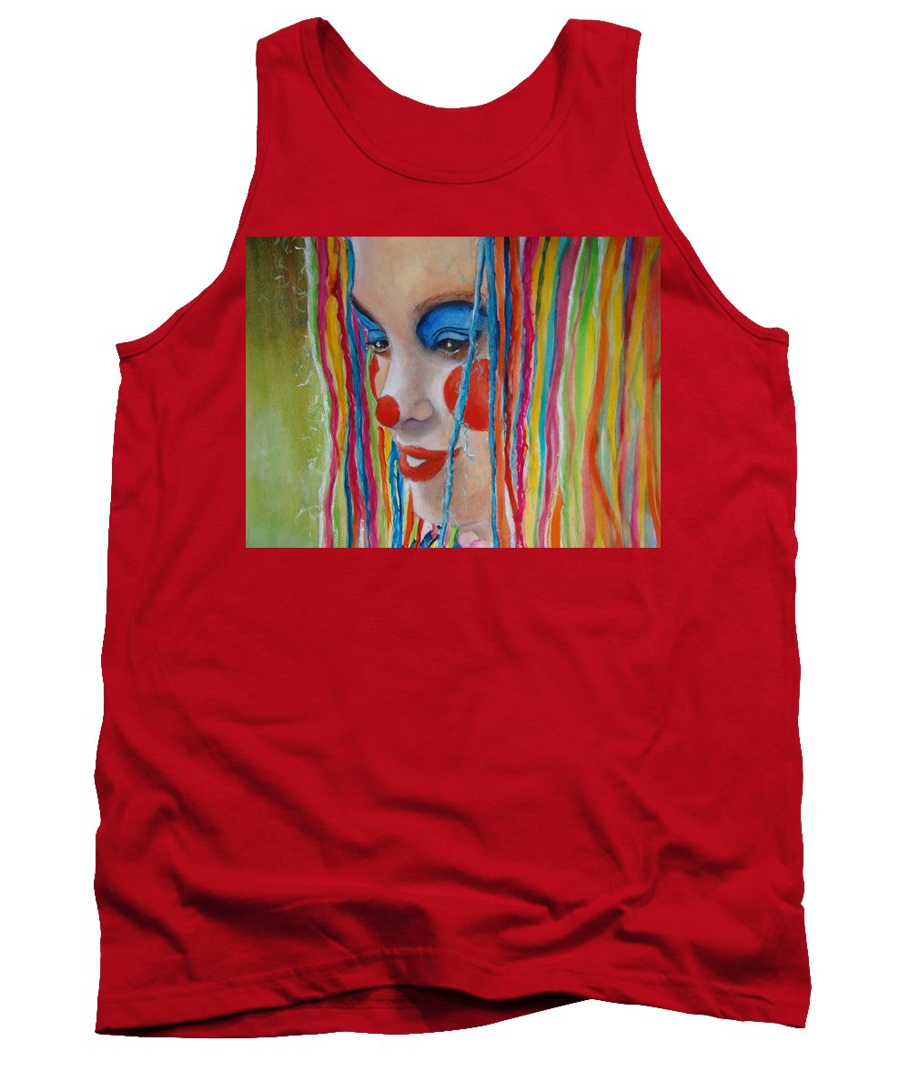 Clowns Tank Top featuring the painting Complementary by Myra Evans