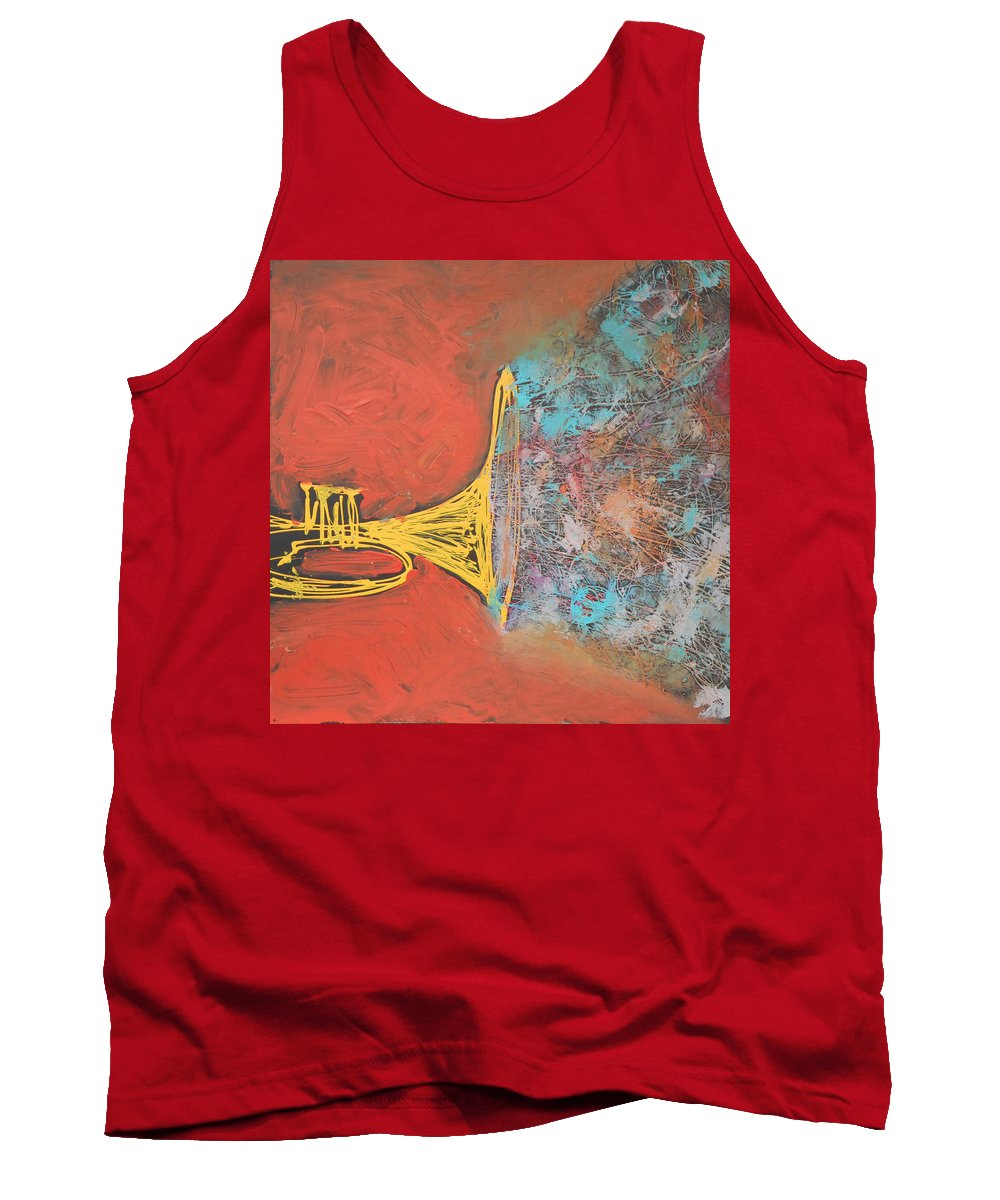 Jazz Tank Top featuring the painting Confetti Horn On Orange by Rhodes Rumsey