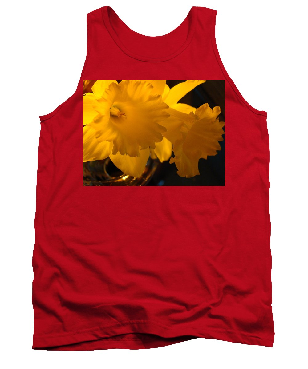 �daffodils Artwork� Tank Top featuring the photograph Contemporary Flower Artwork 10 Daffodil Flowers Evening Glow by Baslee Troutman