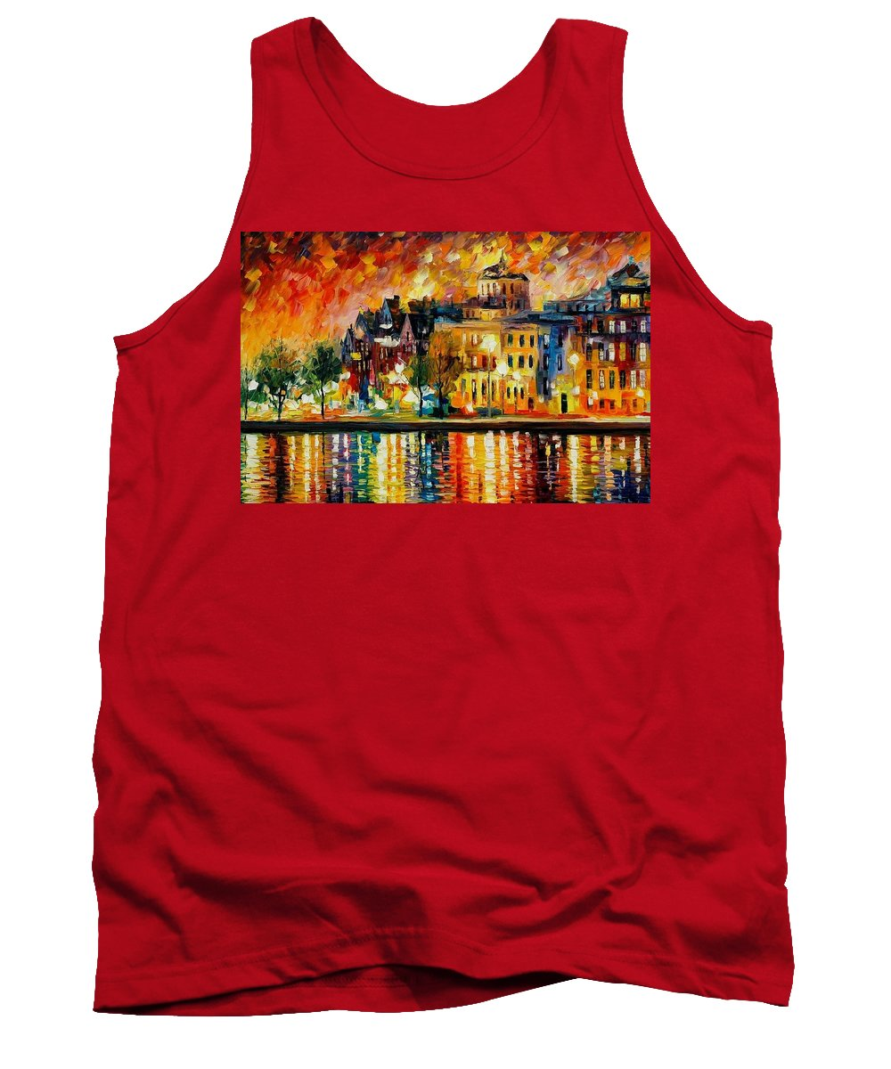 City Tank Top featuring the painting Copenhagen Original Oil Painting by Leonid Afremov