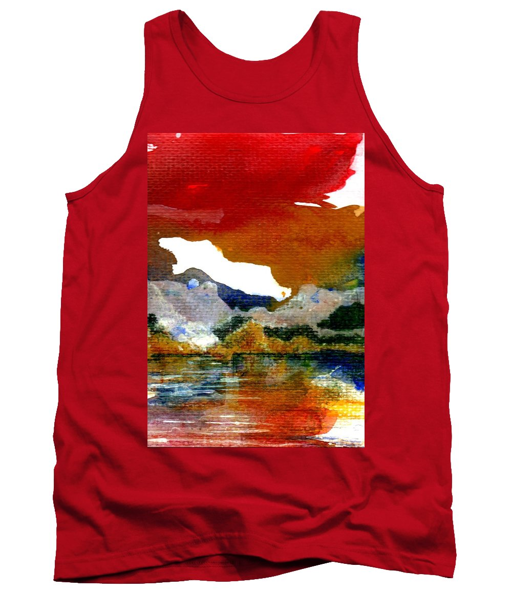 Copper Lake Tank Top featuring the painting Copper Lake by Melody Horton Karandjeff