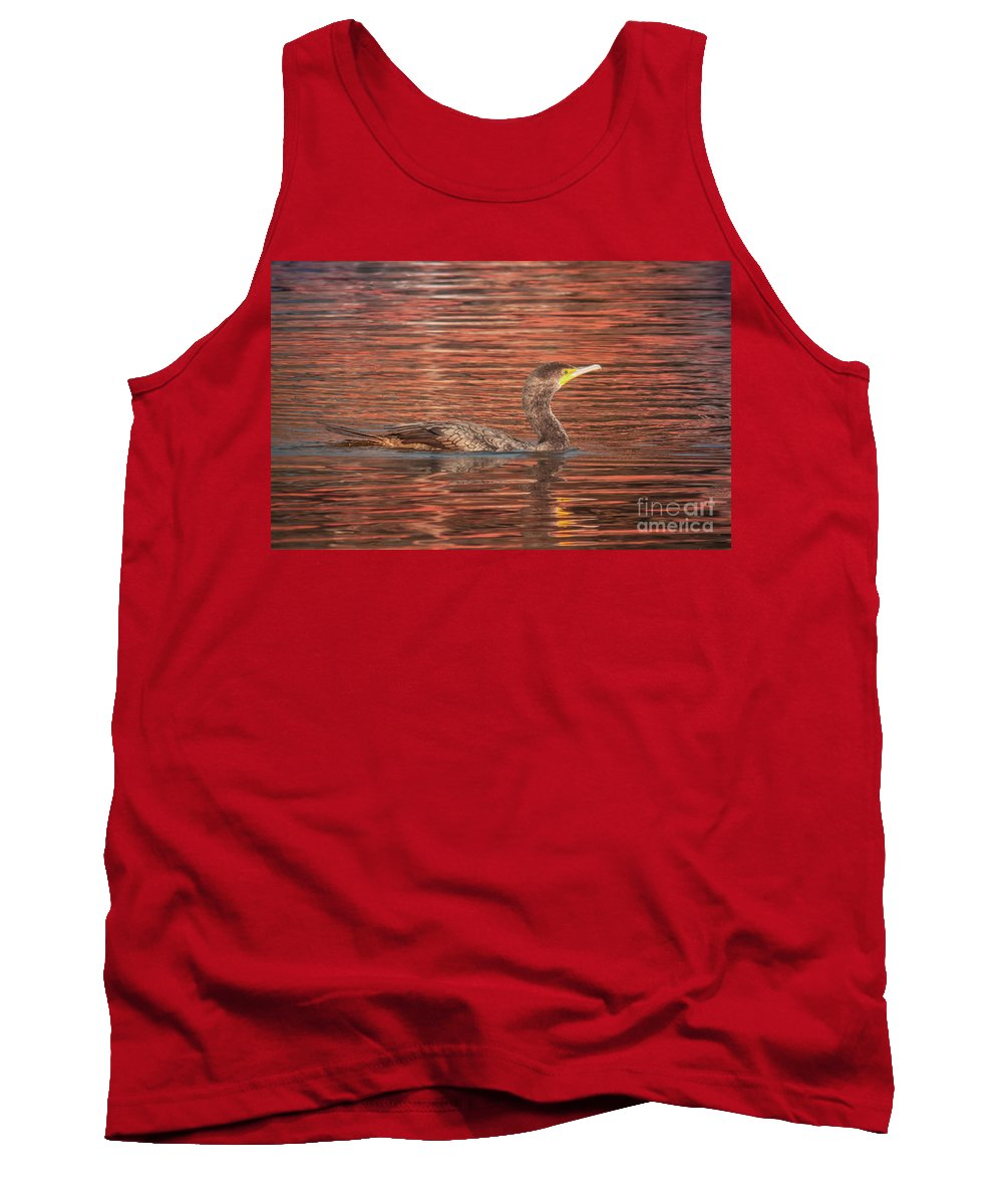 Animal Tank Top featuring the photograph Cormorant On Autumn Red by Robert Frederick