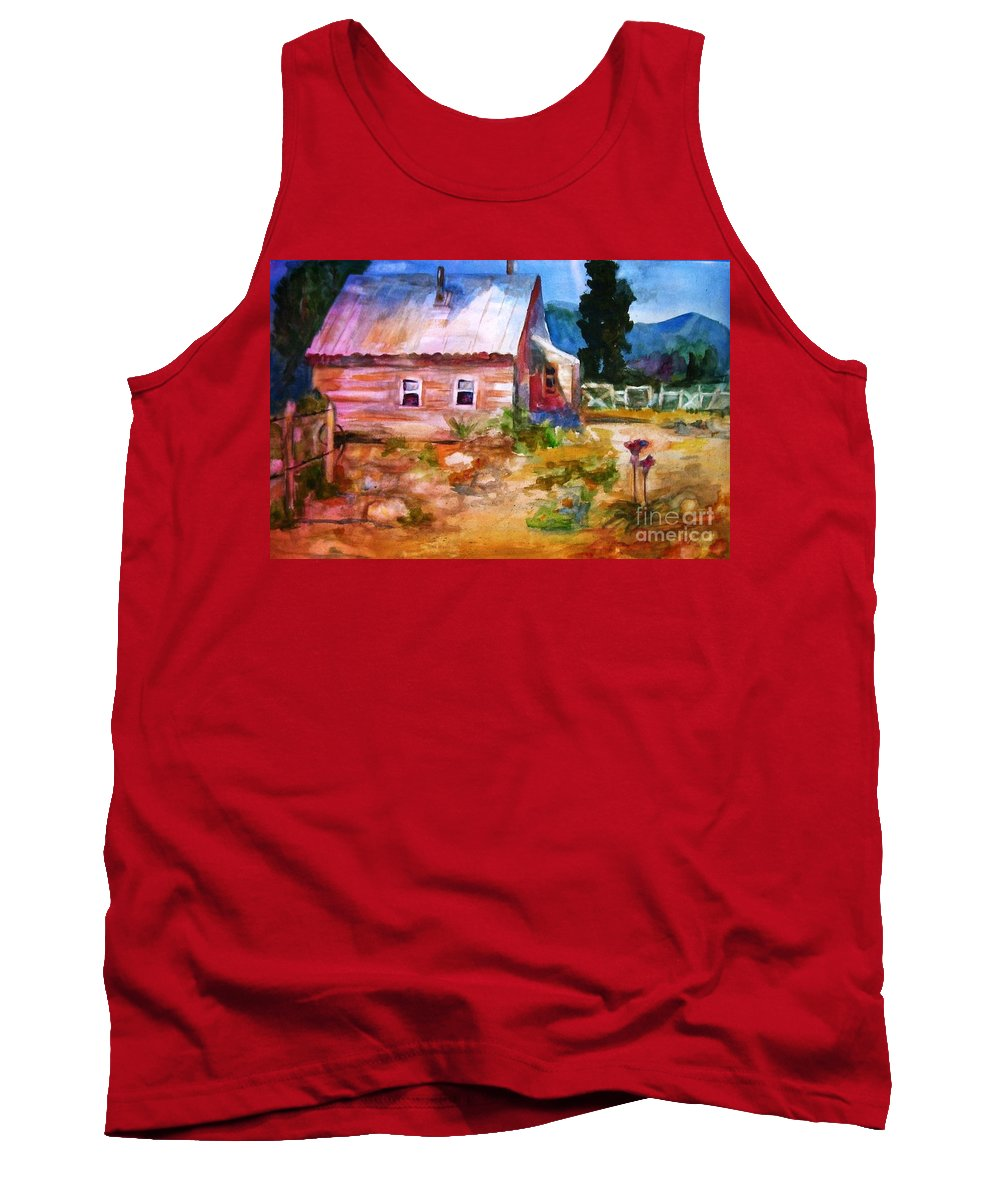 Cottage Tank Top featuring the painting Country House by Frances Marino