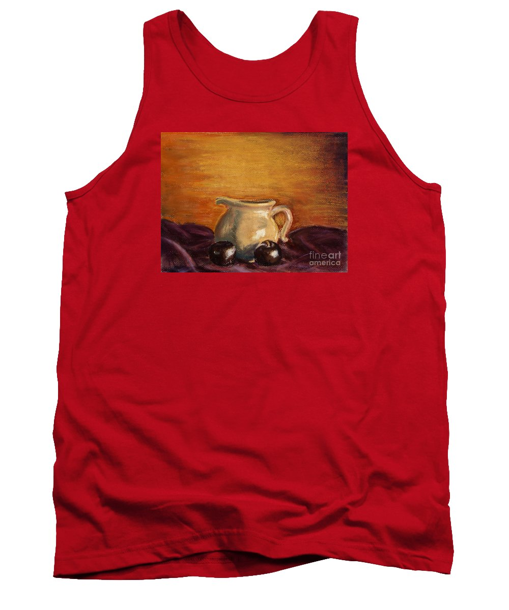 Still Life Tank Top featuring the painting Cream Pitcher by Mary Benke