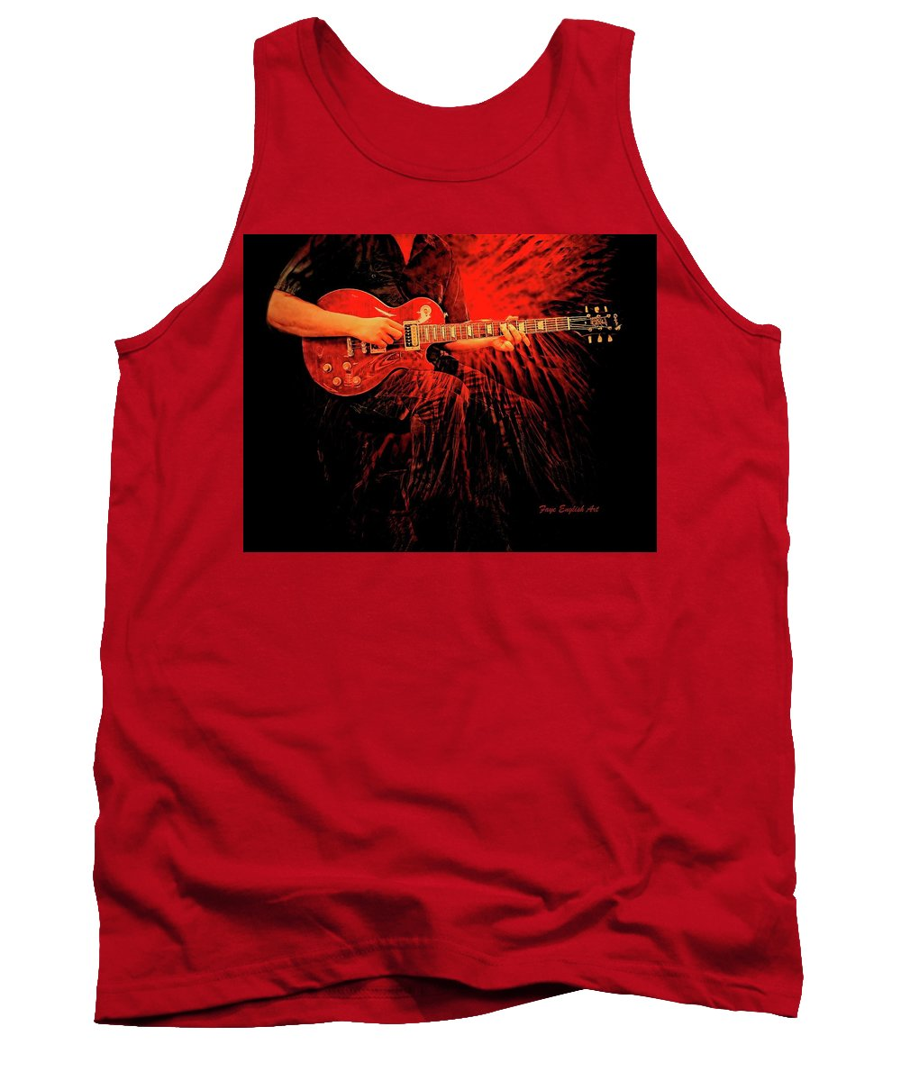 Crimson Guitar Is A Digital Painting. Music And Lights Throughout The Night. Tank Top featuring the digital art Crimson Guitar by Faye English
