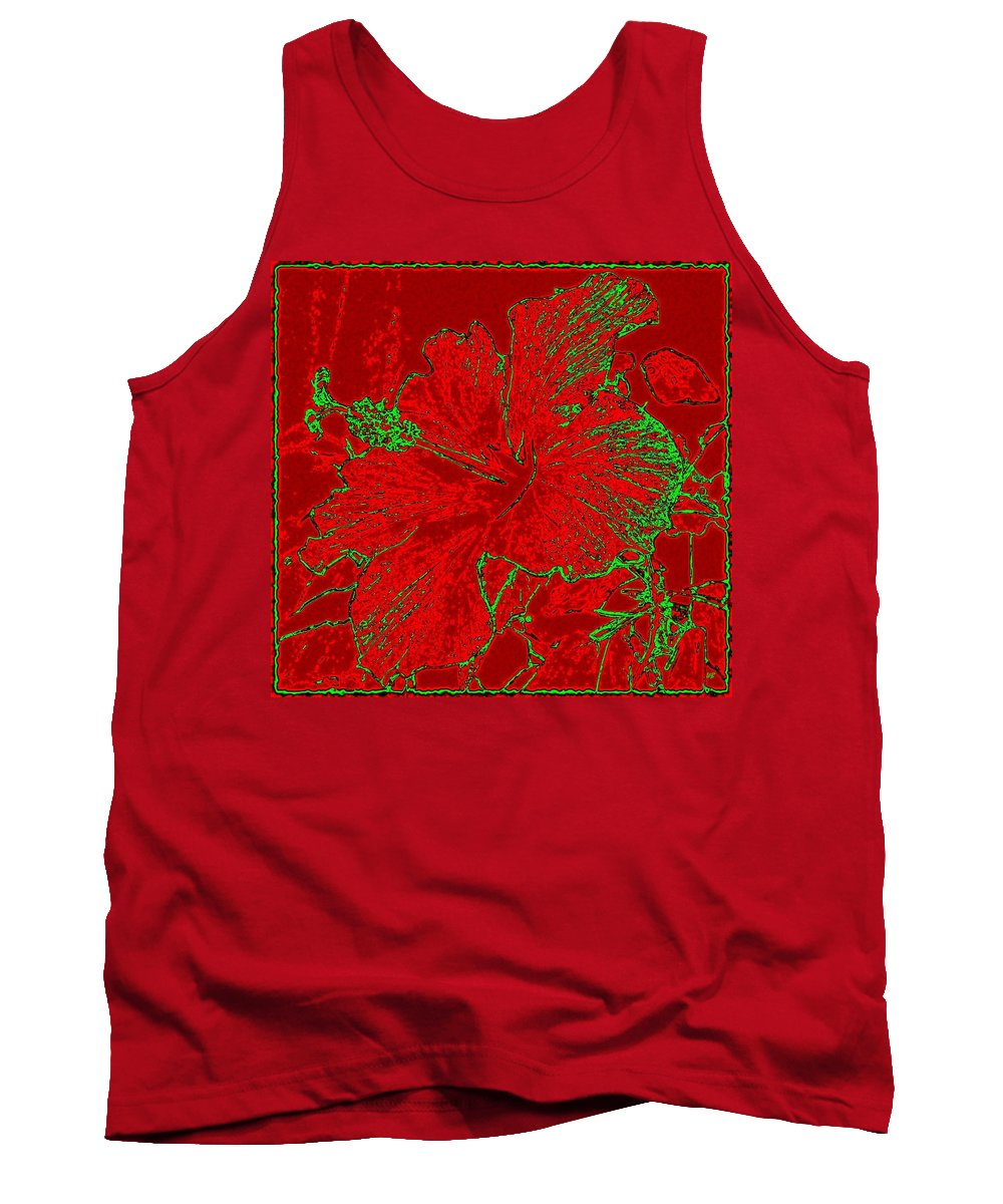 Abstract Tank Top featuring the digital art Crimson Hibiscus by Will Borden