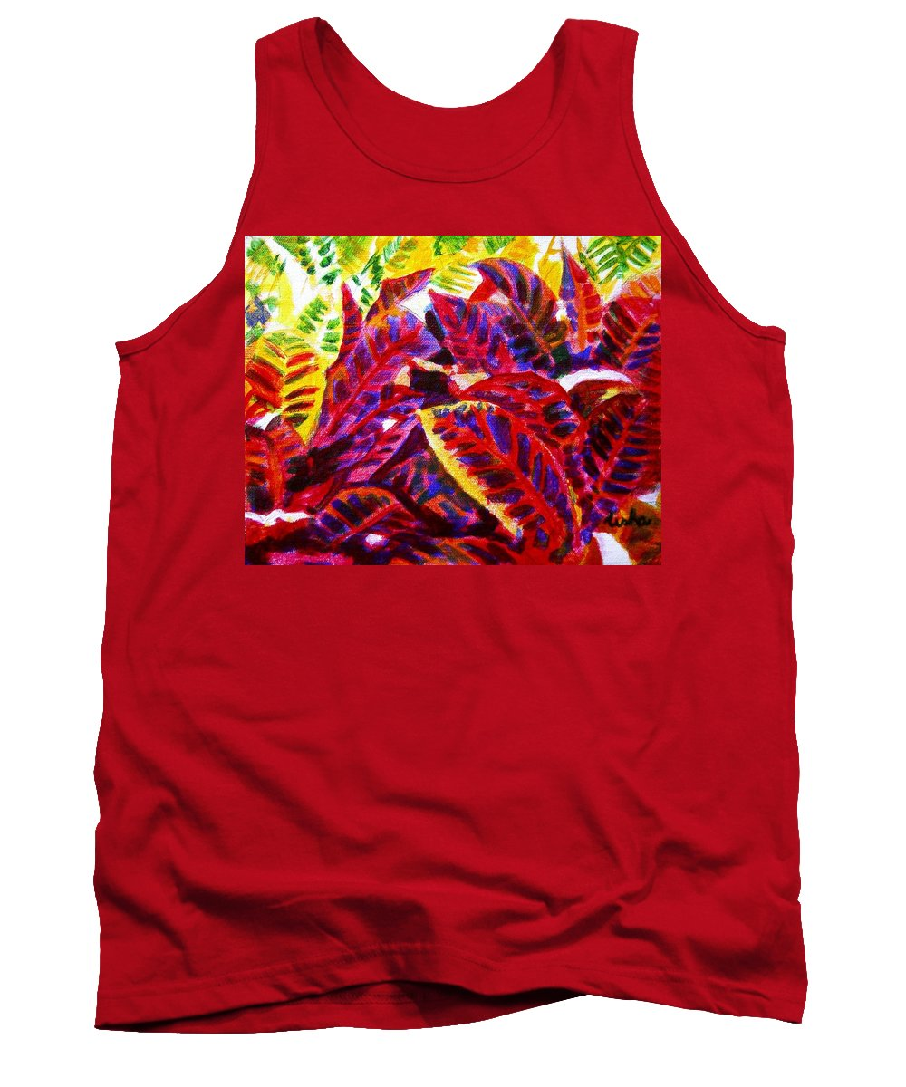 Nature Tank Top featuring the painting Crotons Sunlit 1 by Usha Shantharam
