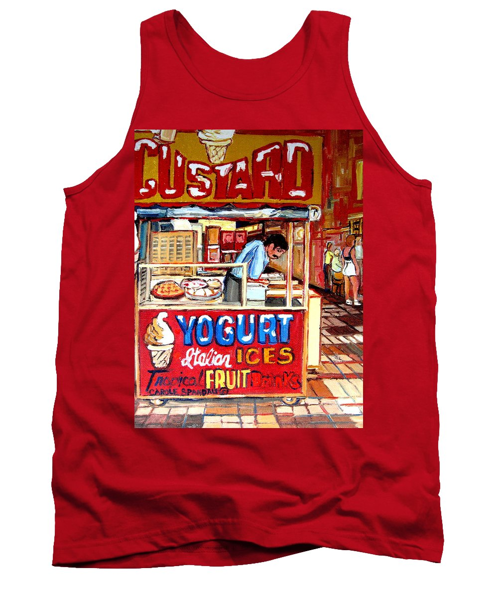 Custard Cart Tank Top featuring the painting Custard Cart by Carole Spandau