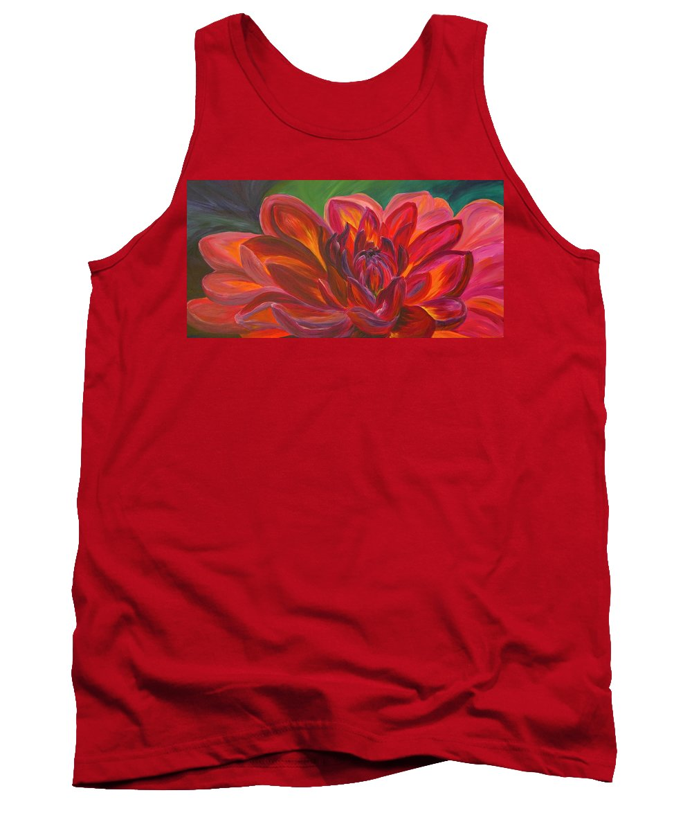Floral Tank Top featuring the painting Dahlia by Donna Drake