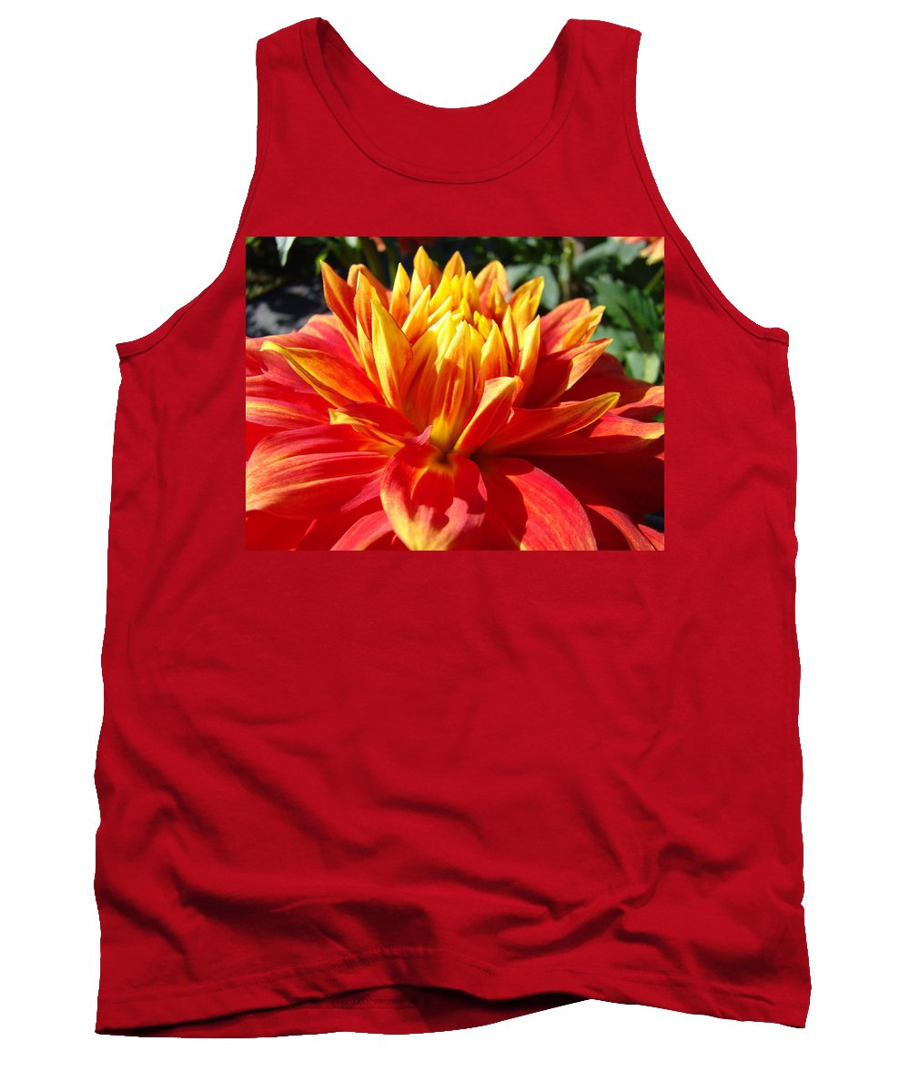 Dahlia Tank Top featuring the photograph Dahlia Florals Orange Dahlia Flower Art Prints Canvas by Baslee Troutman