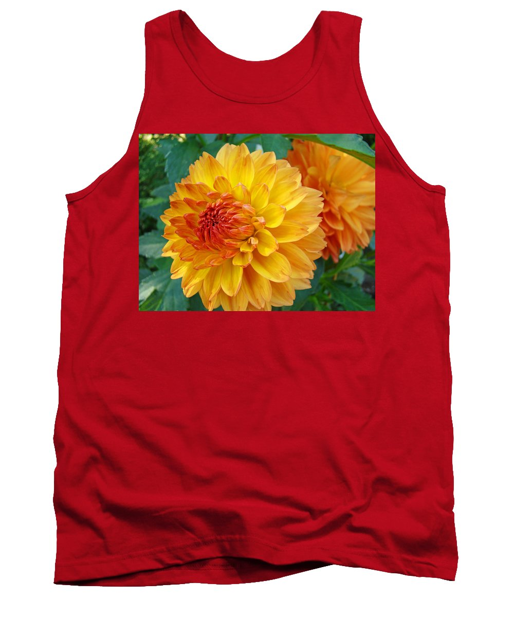 Dahlia Tank Top featuring the photograph Dahlias Art Prints Orange Dahlia Flowers Baslee Troutman by Baslee Troutman