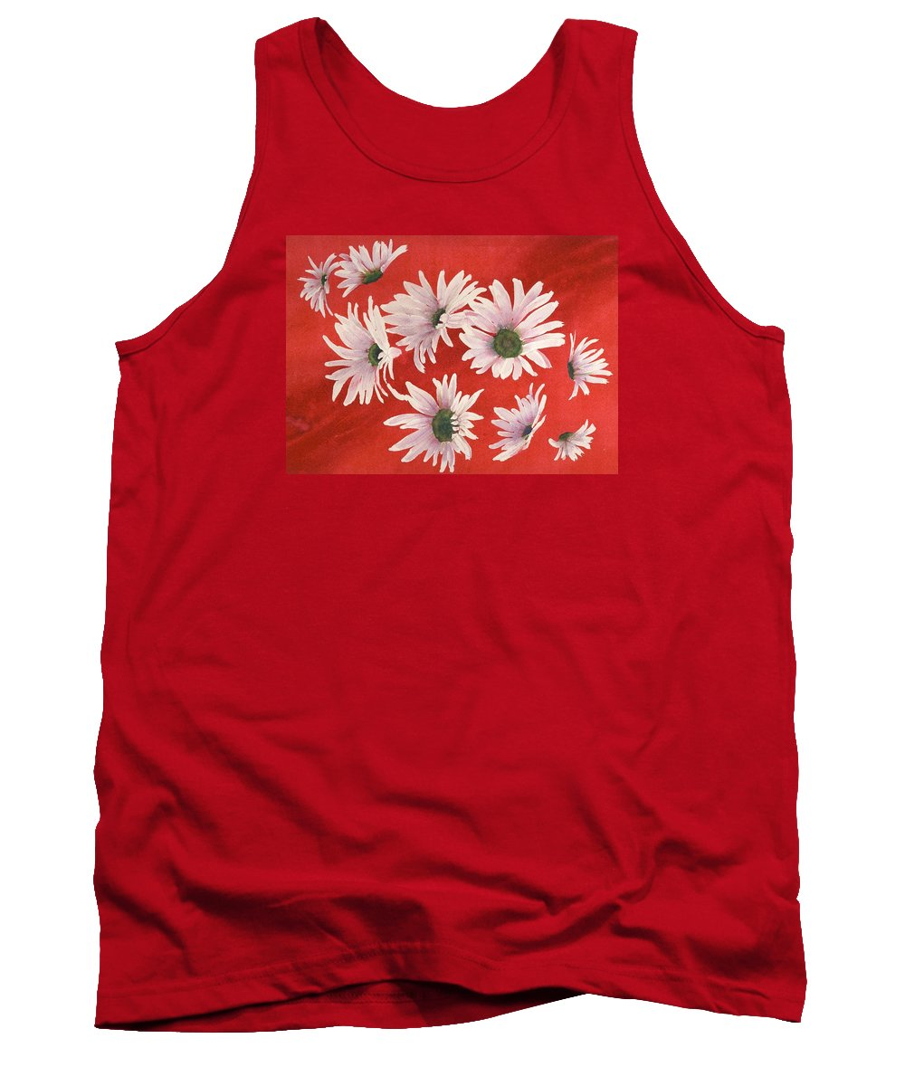 Flowers Tank Top featuring the painting Daisy Chain by Ruth Kamenev