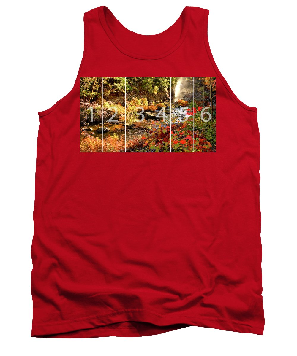 Dead River Falls Tank Top featuring the mixed media Dead River Falls Marquette Michigan Panoramic Map by Michael Bessler