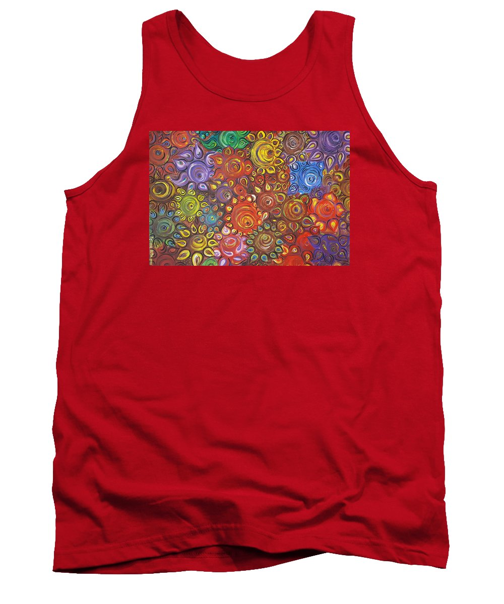 Flower Tank Top featuring the painting Decorative Flowers by Rita Fetisov