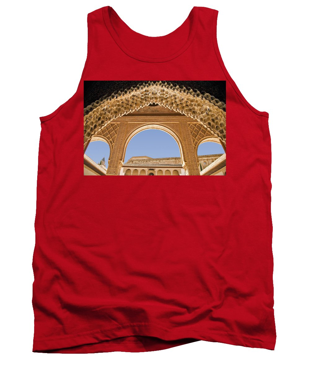 Architecture Tank Top featuring the photograph Decorative Moorish Architecture In The Nasrid Palaces At The Alhambra Granada Spain by Mal Bray