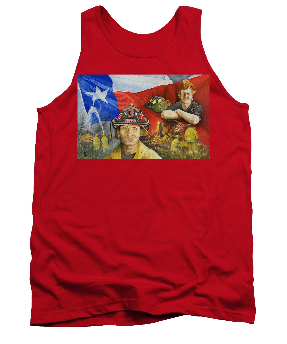 Firemen Tank Top featuring the painting Defending Texas by Gale Cochran-Smith