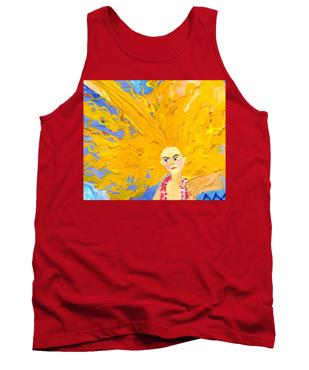 Sue Burgess Tank Top featuring the painting Detail Of Mer Mum And Comb The Daughter by Sushila Burgess