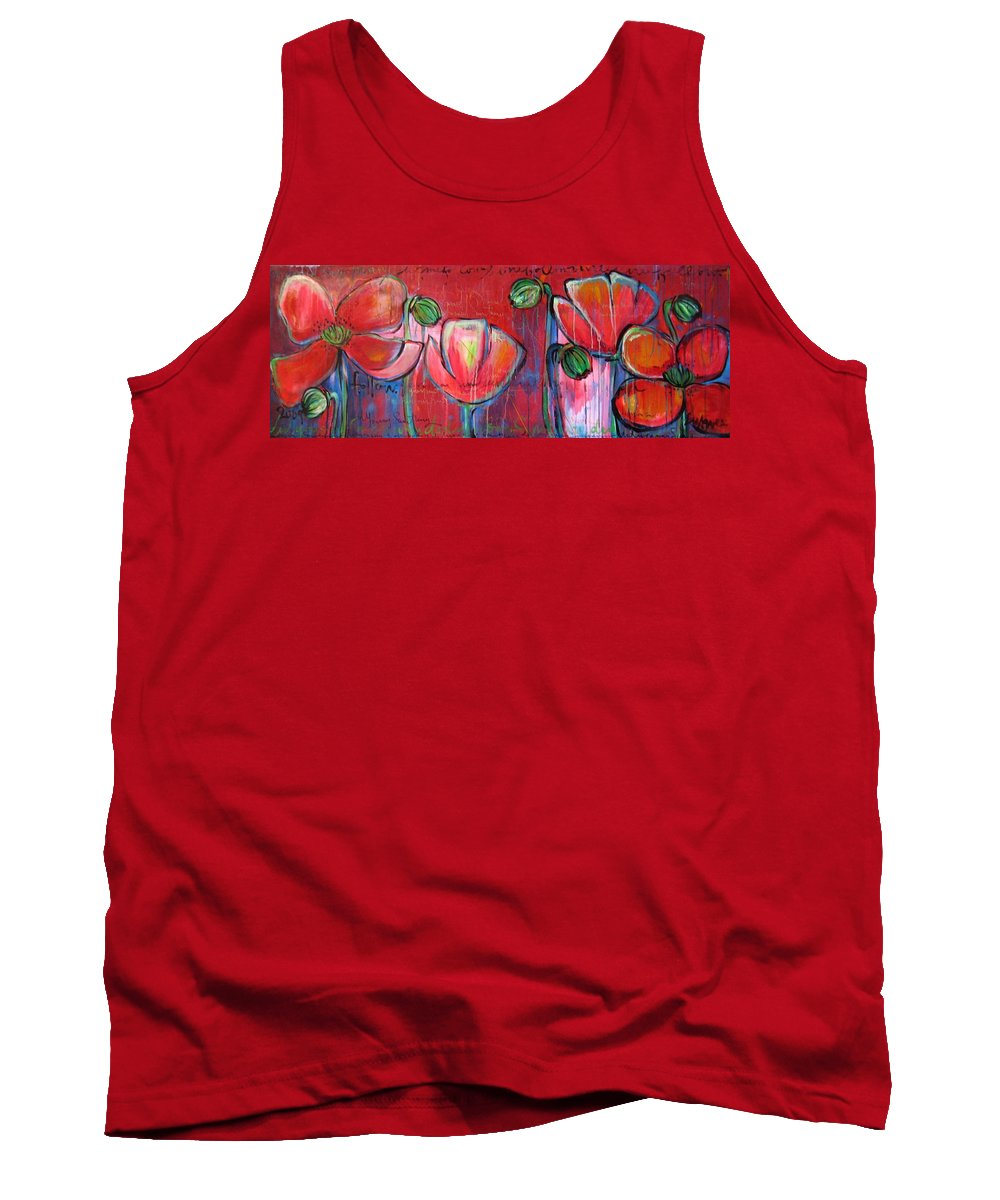 Red Tank Top featuring the painting Did You Say Sanctuary by Laurie Maves ART