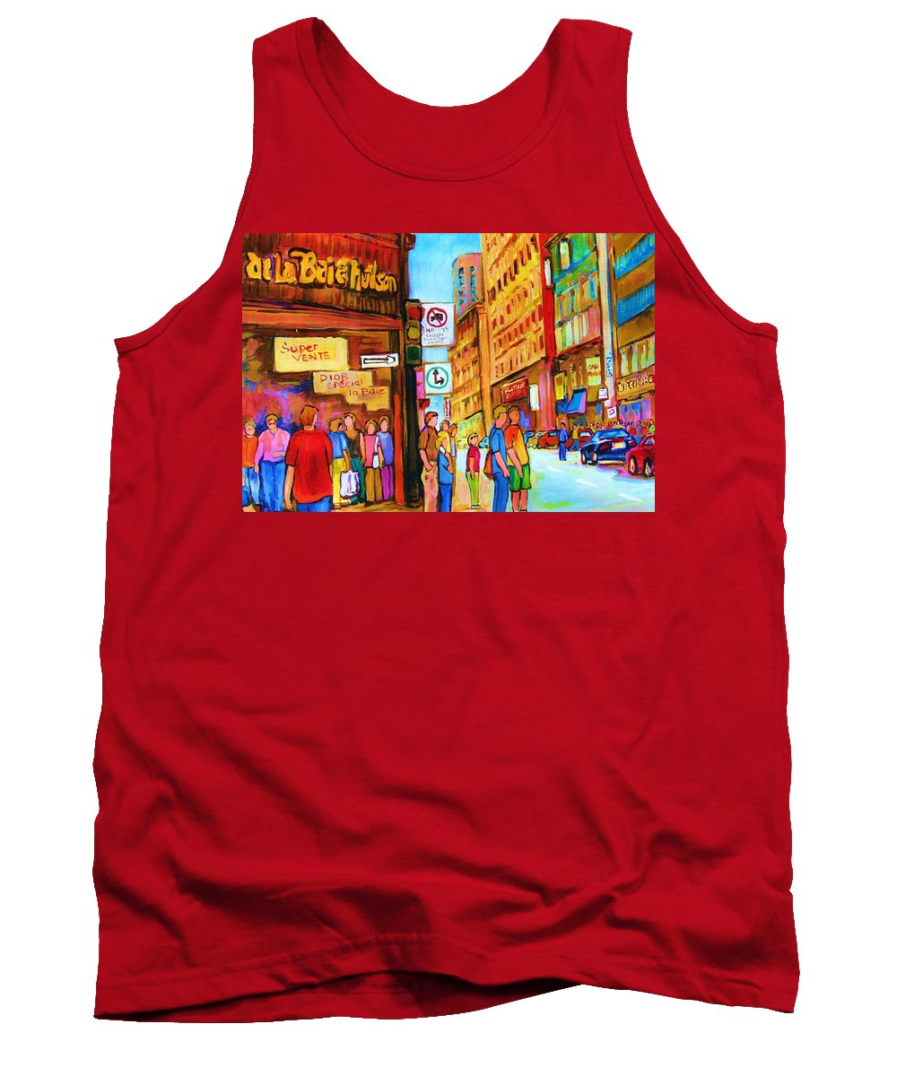 Cityscape Tank Top featuring the painting Downtown by Carole Spandau