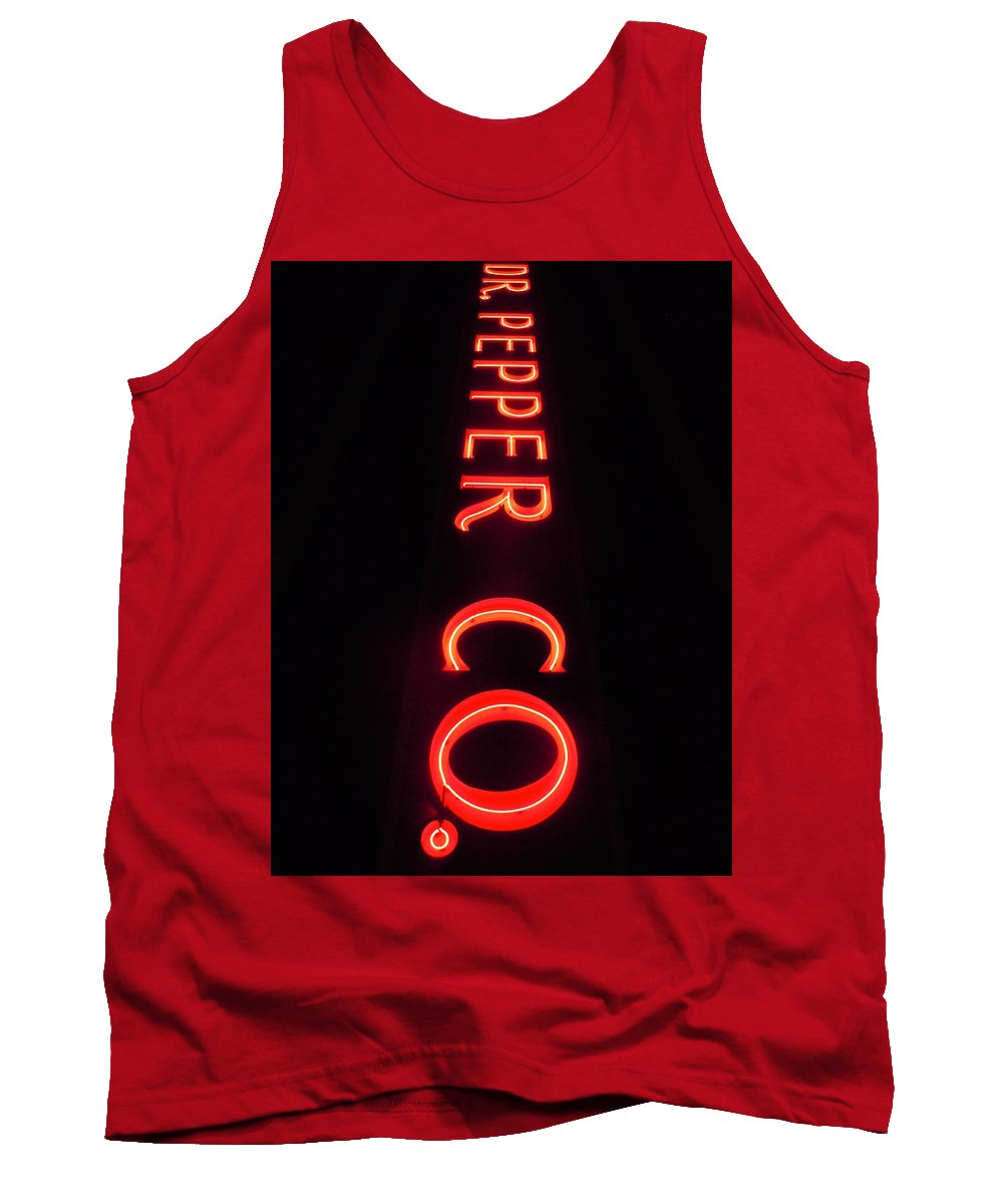 Dr. Pepper Tank Top featuring the photograph Dr. Pepper Neon by Timothy Smith