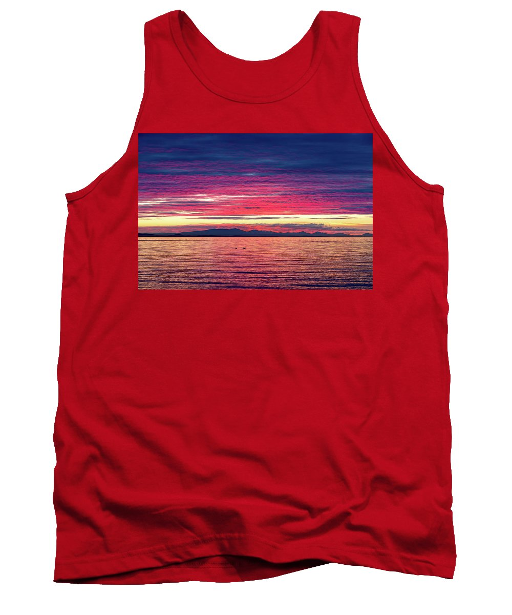 Birch Bay Tank Top featuring the photograph Dramatic Sunset Colors Over Birch Bay by David Gn