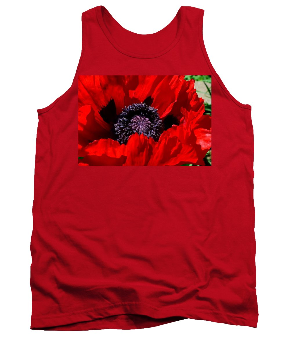Red Poppy Tank Top featuring the photograph Drop Dead Red by Terri Waselchuk
