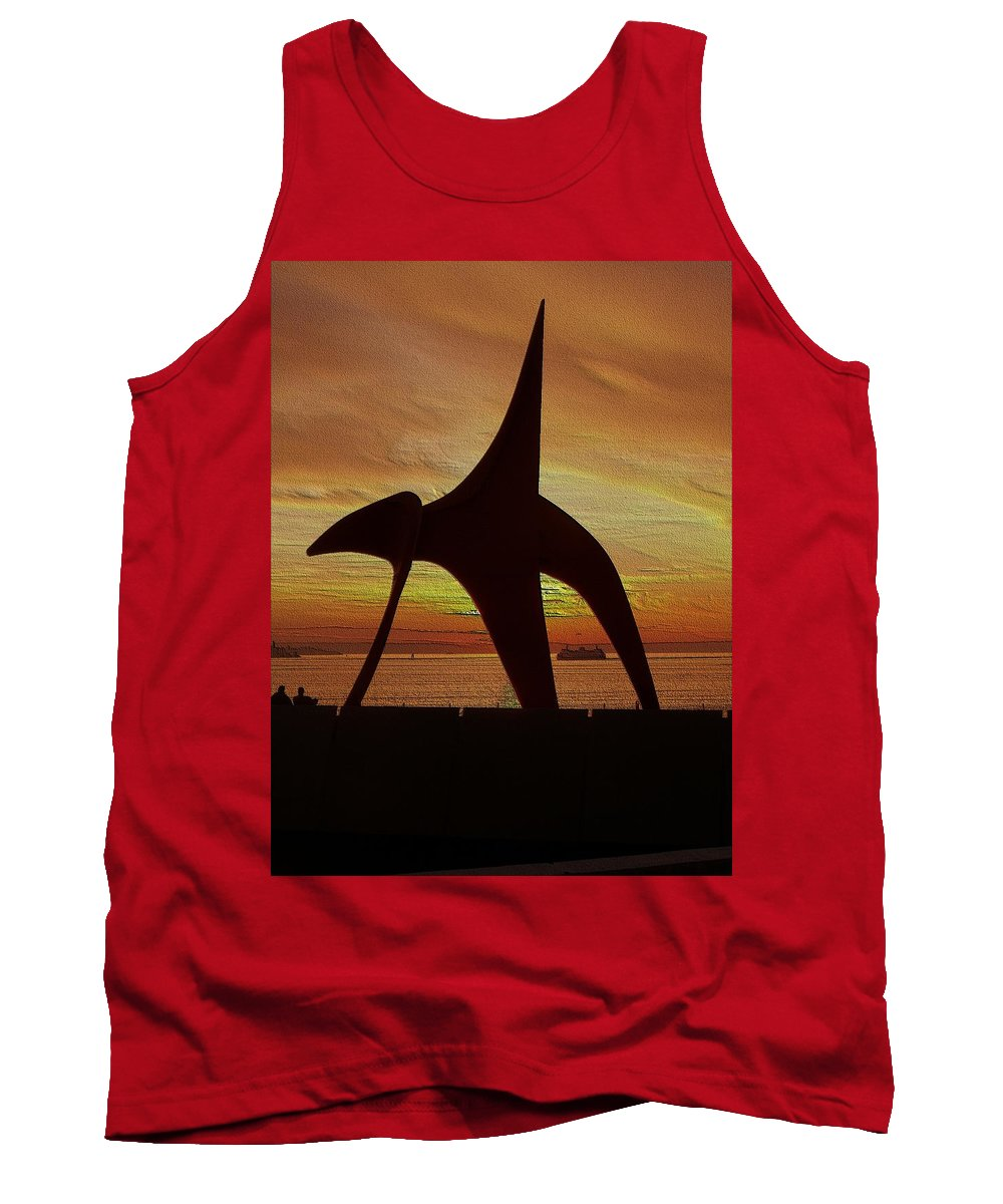 Seattle Tank Top featuring the digital art Eagle Sunset Over Elliott Bay by Tim Allen