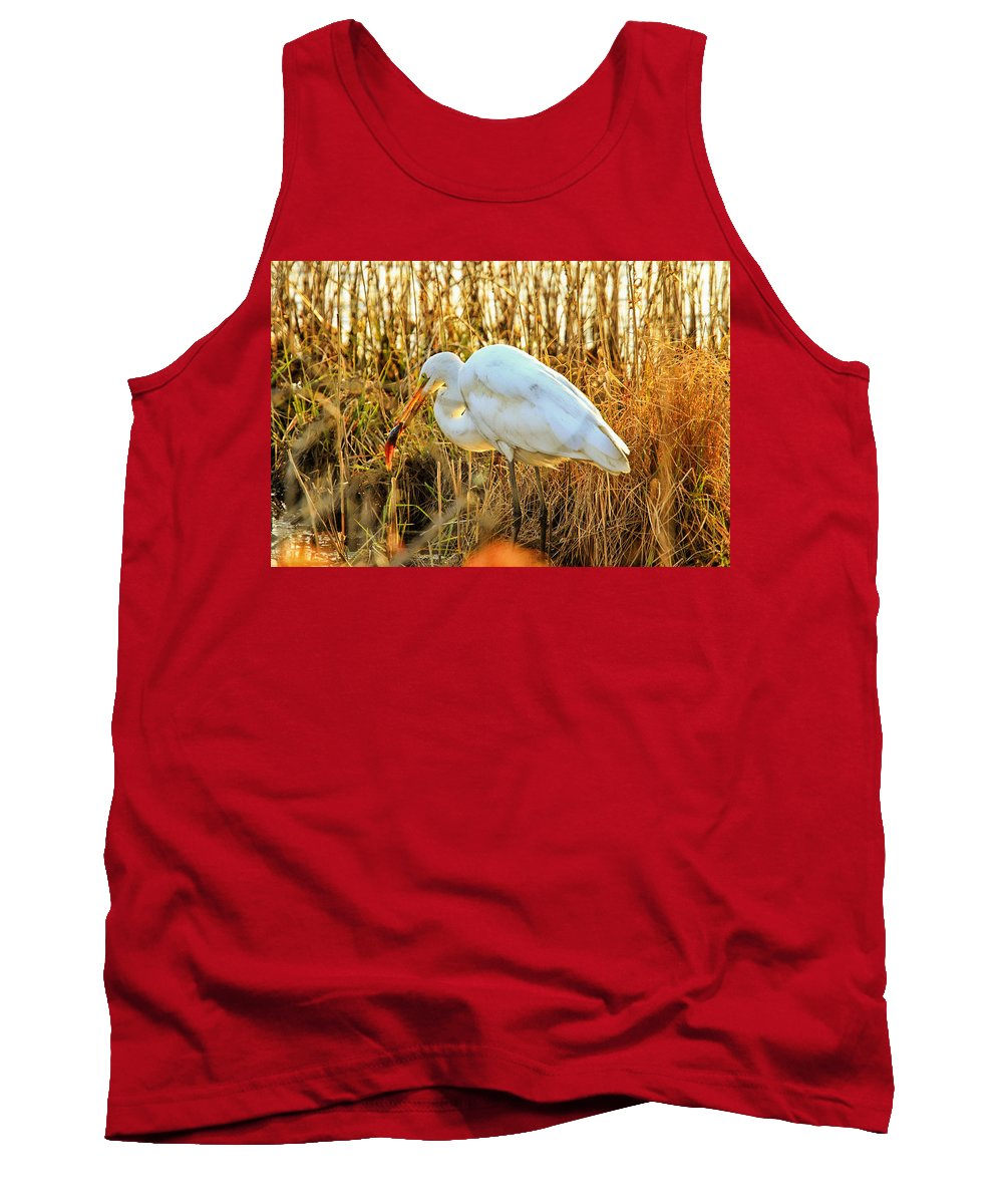 Recent Tank Top featuring the photograph Egret Fishing In Sunset At Forsythe National Wildlife Refuge by Geraldine Scull