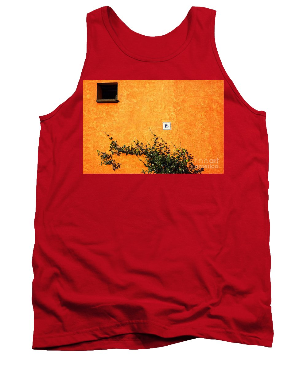 Numbers Tank Top featuring the photograph Eighteen On Orange Wall by Silvia Ganora