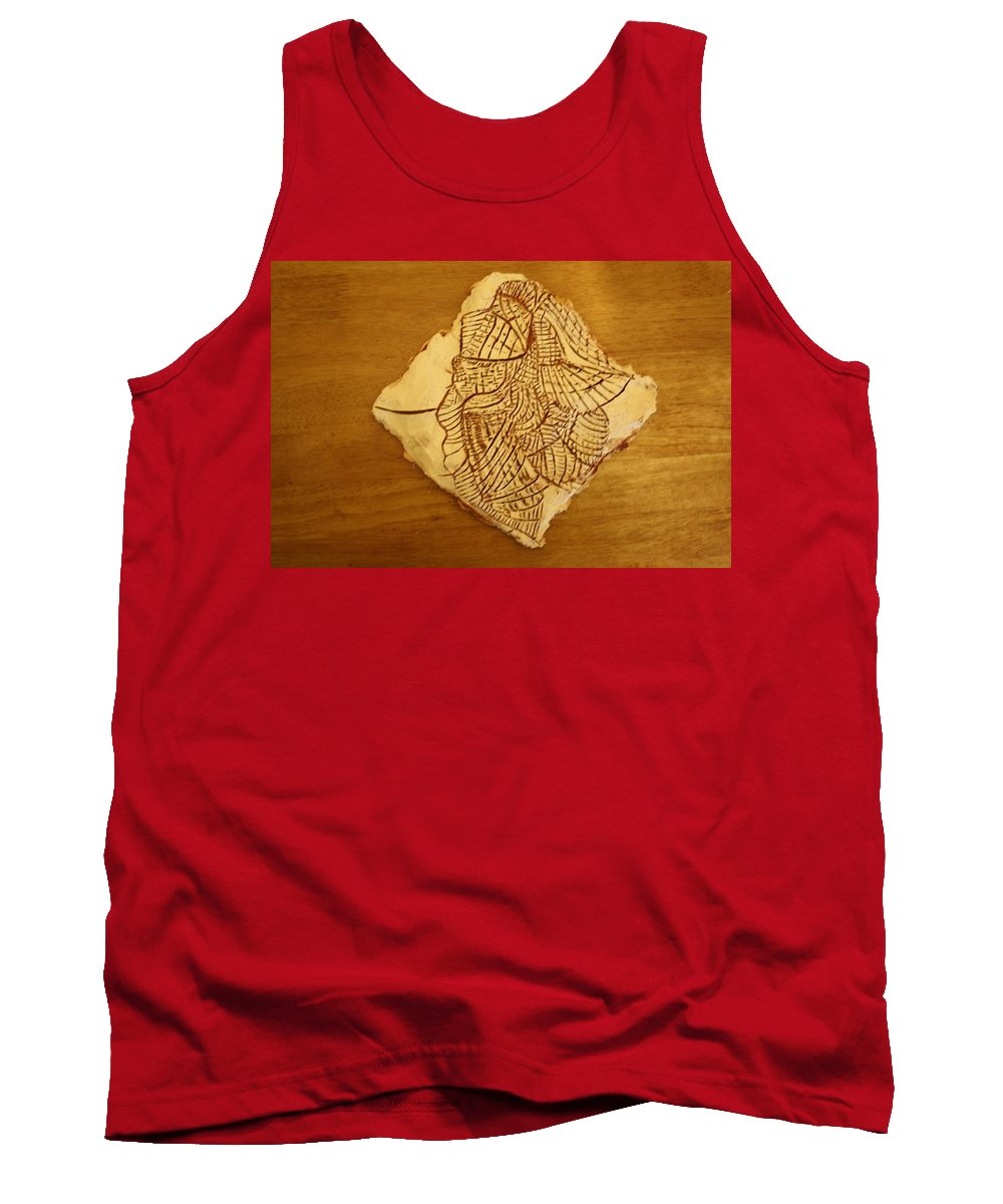 Jesus Tank Top featuring the ceramic art Elements - Tile by Gloria Ssali