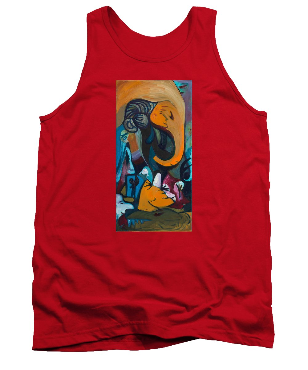 Elephant Tank Top featuring the painting Elephant Dreams by Marius Manea